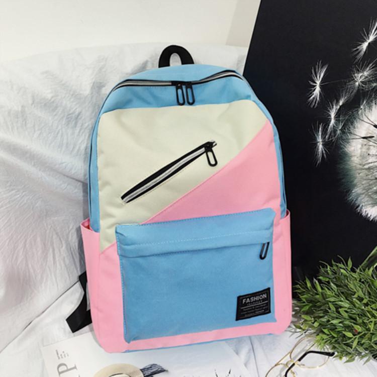 Canvas Zaino Student Oblique Zipper multifunzionale sacchetto di scuola femminile di New all'aperto dolce cucitura grande zaino Laptop Bag