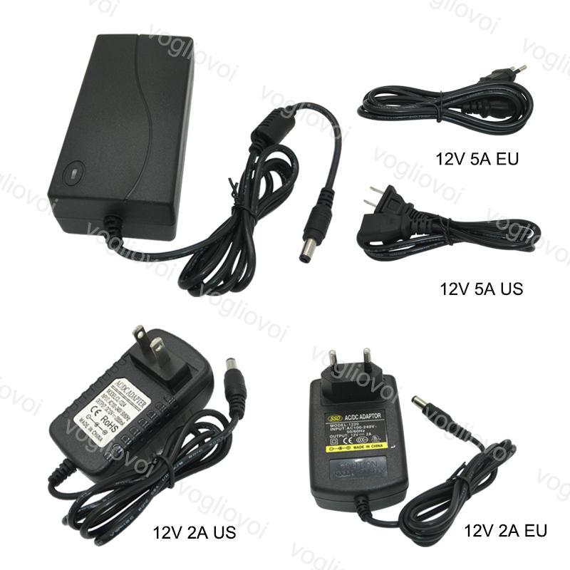 محولات الإضاءة محولات الطاقة محول الولايات المتحدة الاتحاد الأوروبي التوصيل 110-240 فولت ac dc 12 فولت 2a 5a الملحقات ل 5050 3528 الصمام قطاع ضوء dhl