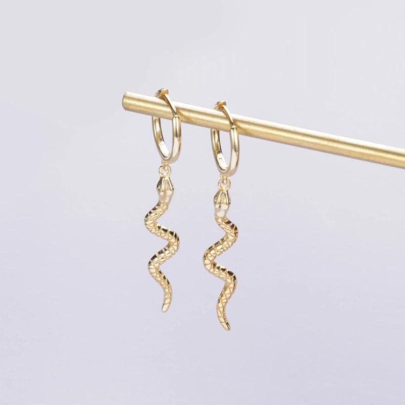 JuneRain Marque Punk Boucles d'oreilles long serpent pour femmes Bijoux 925 en argent sterling Mode exagéraient Serpentine Tassel Boucles d'oreilles
