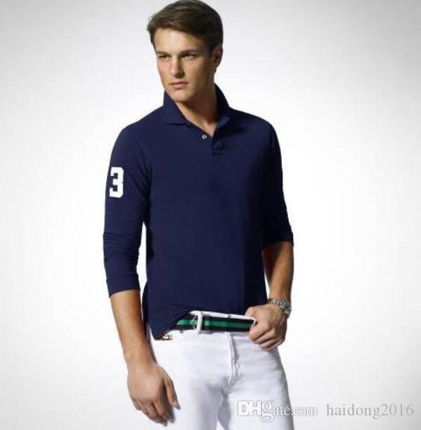 Amerikanische Männer zufällige Polo-Shirts Großes Pferd Stickerei Langarm-Fest T-Shirt Cotton Number 3 Freizeit Tees Tops Schwarz Weiß Braun S-2XL