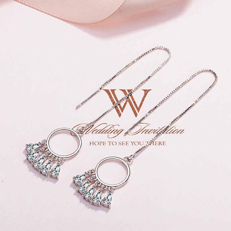yevhX ornamento di cuore ciondolo coreano e orecchini di goccia lunghi zircone Dream Catcher delle donne della nappa orecchini eleganti orecchini