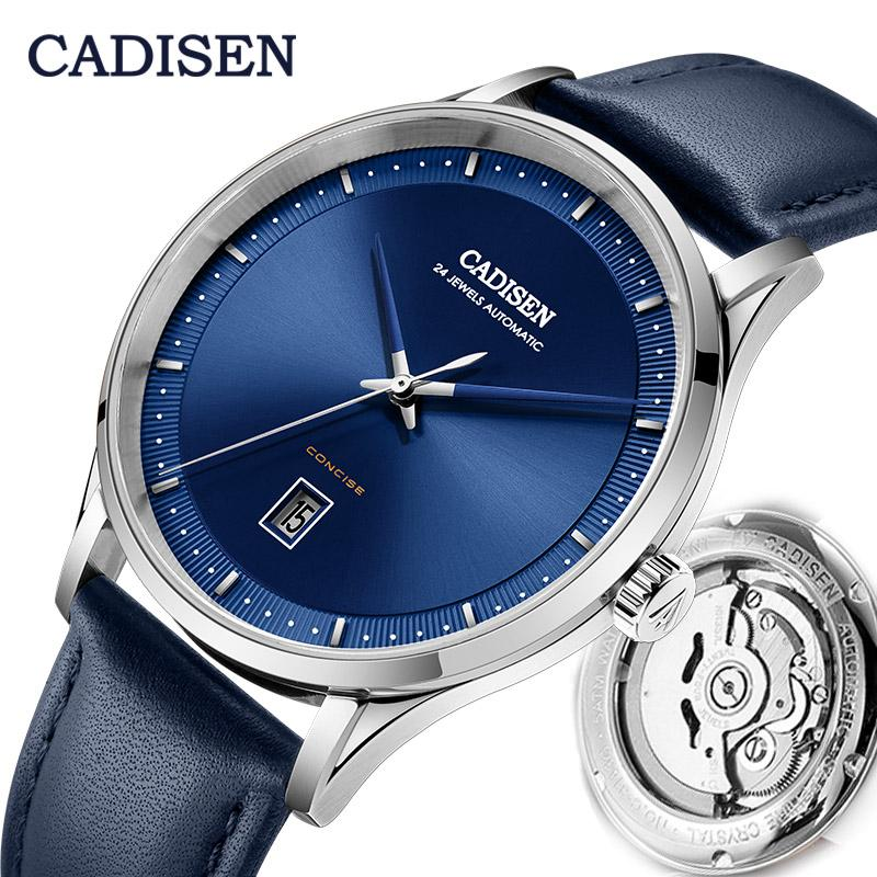 Montres-bracelets Cadisen Mode Montre Automatique Hommes Sports de luxe Bleu Montre-Bracelet Mécanique Japon Japon NH35A Mouvement Cuir étanche