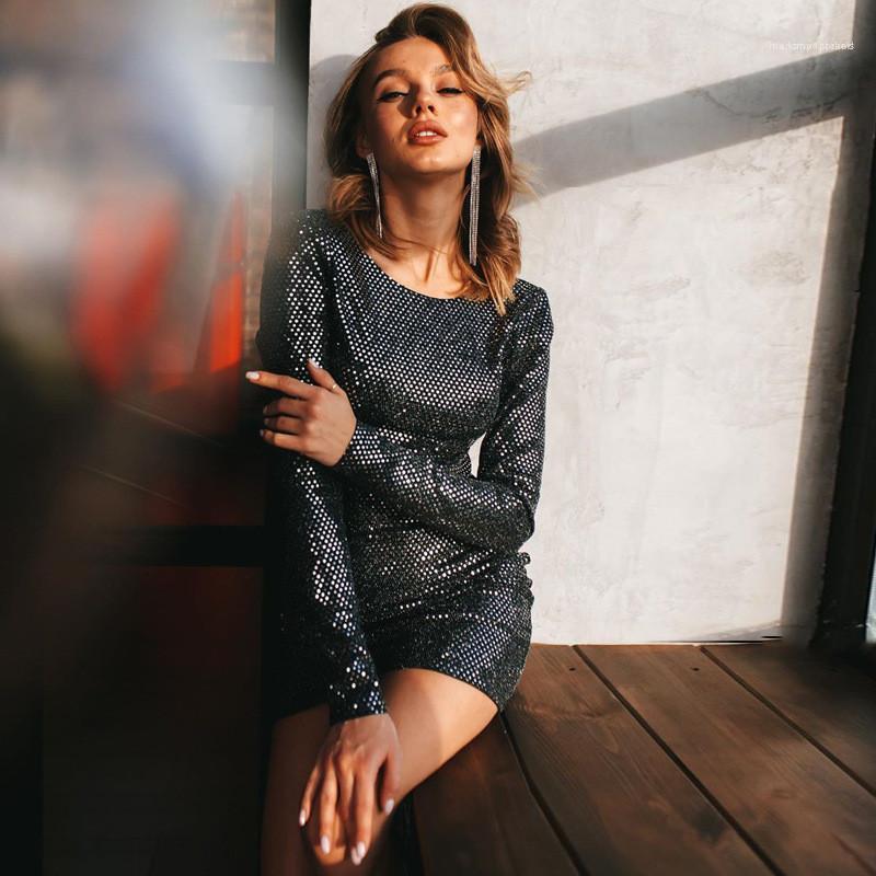Casual manica lunga Solid vestiti delle donne di colore del progettista Paillettes aderente Abiti Backless sexy Hip abito di moda i vestiti sottili