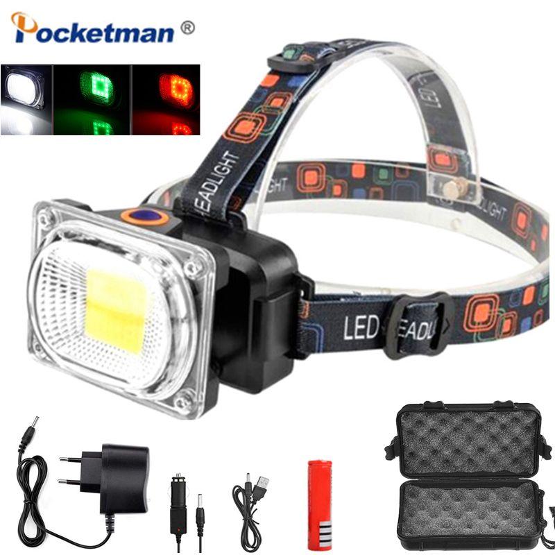 8000LM COB светодиодные фары Прожектор DC зарядки фары LED кемпинг свет фонаря голова использование факел 1 * 18650 работы батареи лампа