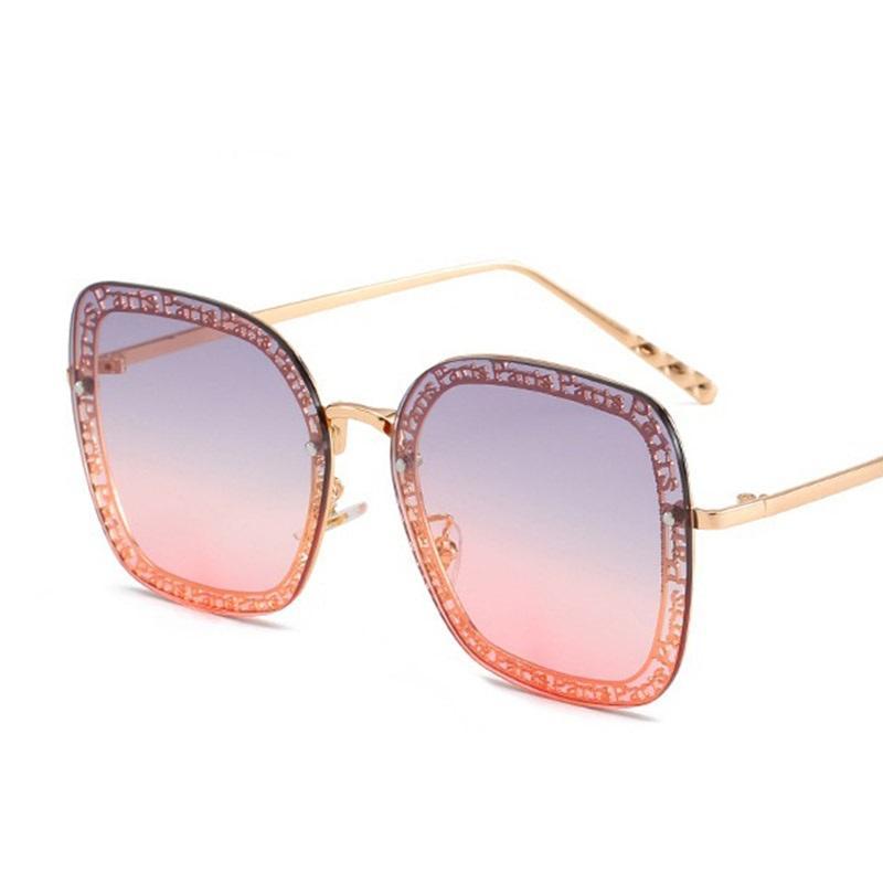 Acessórios Quadrados Quadradas Mulheres Letra de Metal Gato Mulher Eye Tendência Senhoras Óculos de Luxo Versátil Óculos Sol Sunglasses UV400 Sverf