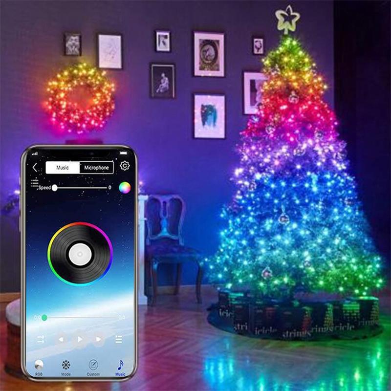 Decoraciones de Navidad Luces de decoración de árboles Aplicación de cadena LED personalizado Control remoto Luz Ligero LAD-VENTA