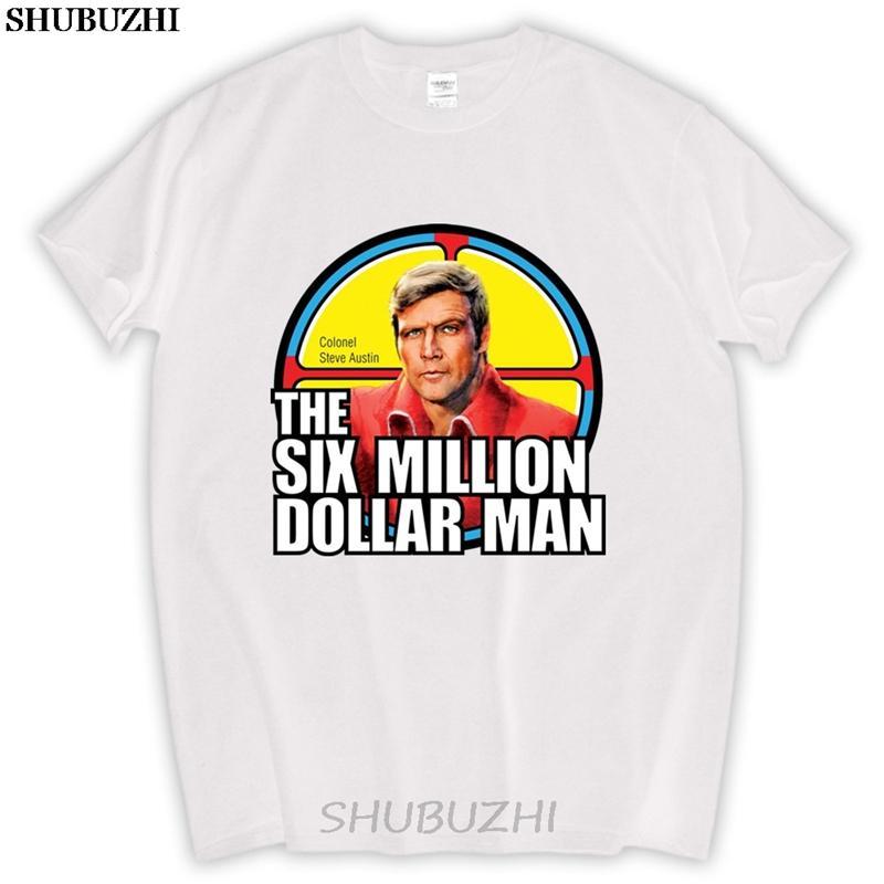 erkek komik Mevcut Altı Milyon Dolarlık Adam Retro Steve Austin Biyonik Adam Tv Fan Tişörtlü% 100 Pamuk Kısa Kollu sbz5183