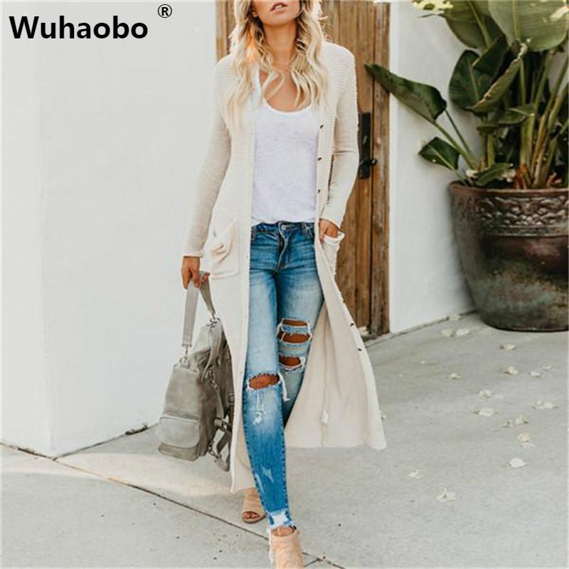Wuhaobo Automne pull en tricot d'hiver Bouton Mode manches longues poches femmes Streetwear longues Cardigans Casual Pull Manteaux