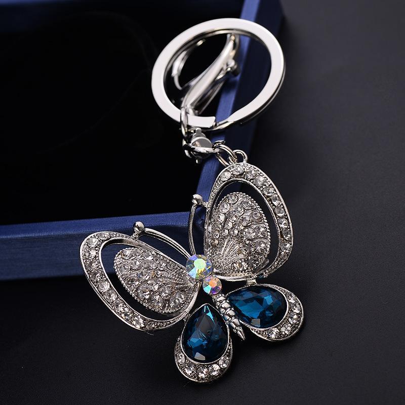 Portachiavi a farfalla di lusso Keychains Crystal Strass Borsa Charms Ciondolo Animale Portachiavi Portachiavi Accessori Abbigliamento Moda Donna Car Key Cains Anelli Regali