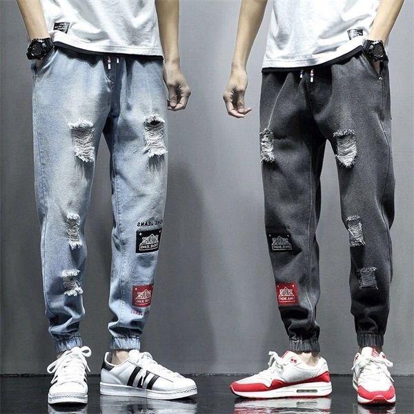 Mode pour hommes Jeans Ripped High Street Casual Denim PANTALON Drawstring Blue Sky Sweatpants loose élastiques Homens Jeans