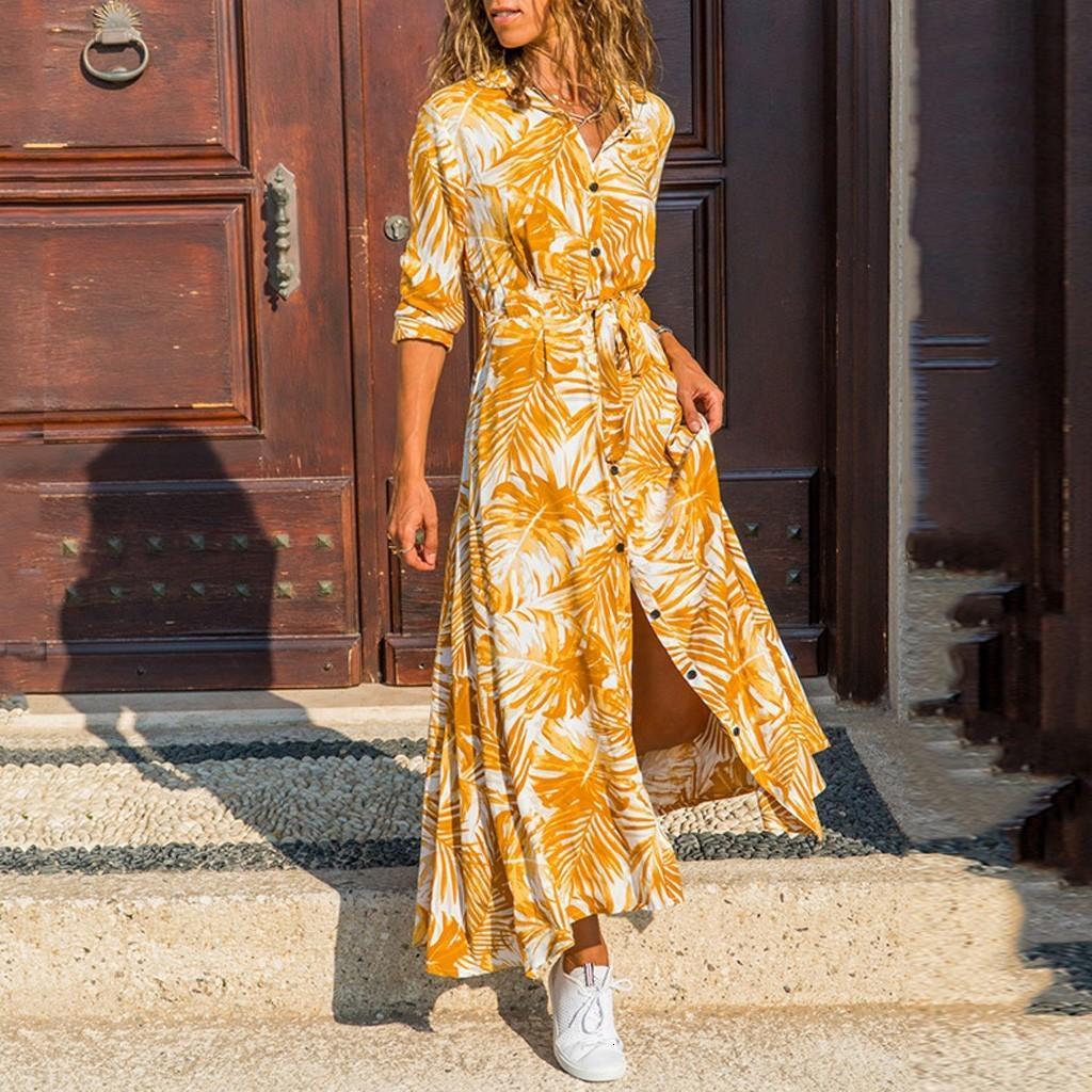 Frauen 2020 beiläufige Vadim Langarm-Ahornblätter drucken Kleider Knopf knöchellangen Kleid Vestidos De Fiesta N26
