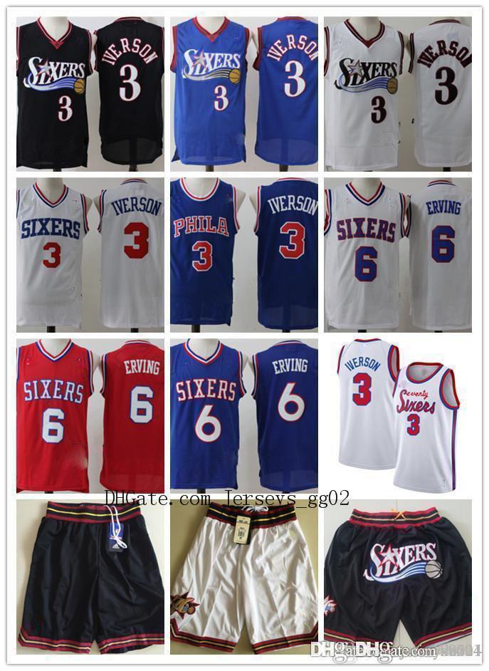 para hombre 2020FiladelfiaNBA76ers Jersey Allen Iverson 3 baloncesto Julius Erving 6 Baloncesto Jersey cortocircuitos de los jerseys