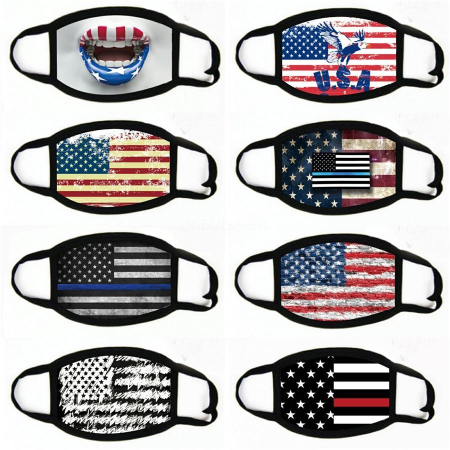 Donald Masque 2020 Drapeaux américains Designer Masques réglable Bouche Couverture Hommes Femmes Coton # 102 antipoussière Lavable