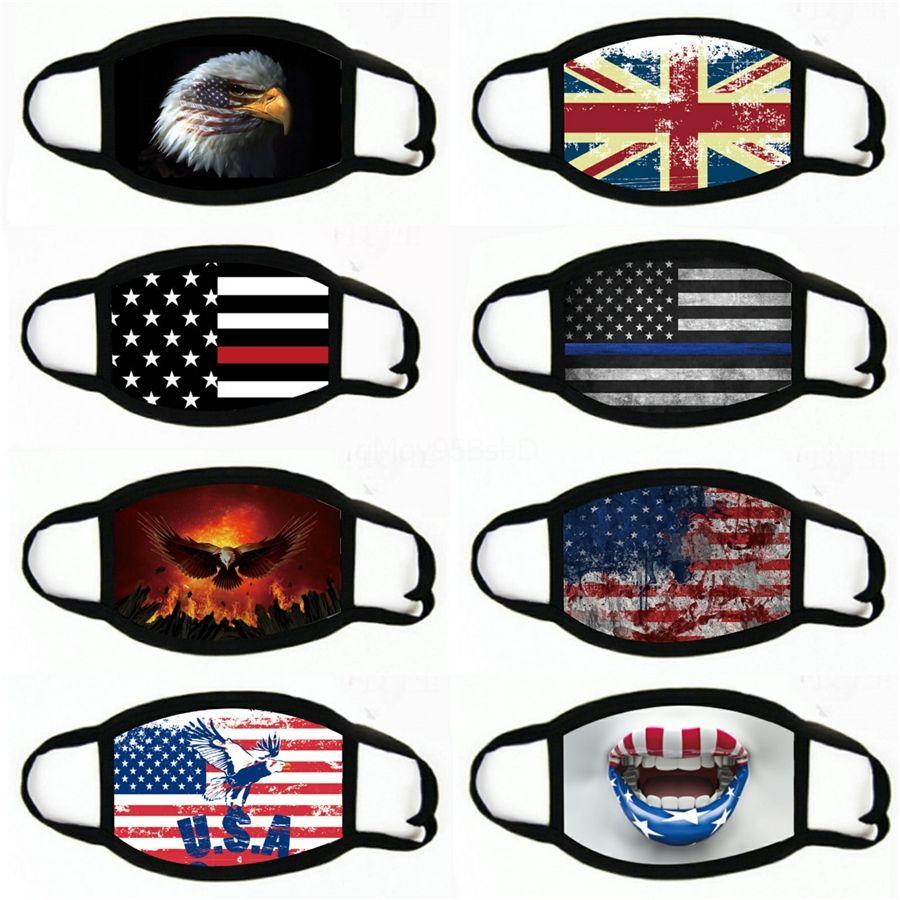 American Flag Viso stampa mascherina mascherine antipolvere antivento con cappuccio protezione solare in bicicletta MaskWashable # 401