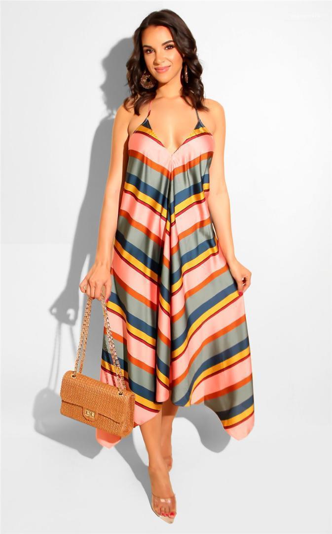 V-cou spaghetti sangle longue Maxi Robes Femmes Holiday Beach Summer Robe rayée
