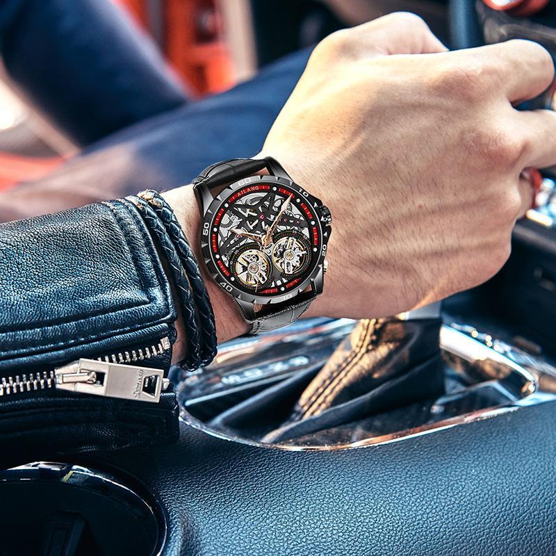 AILANG Tourbillon scheletro meccanico della vigilanza degli uomini di cuoio di lusso automatico Classic in oro rosa meccanico da polso Reloj Hombre