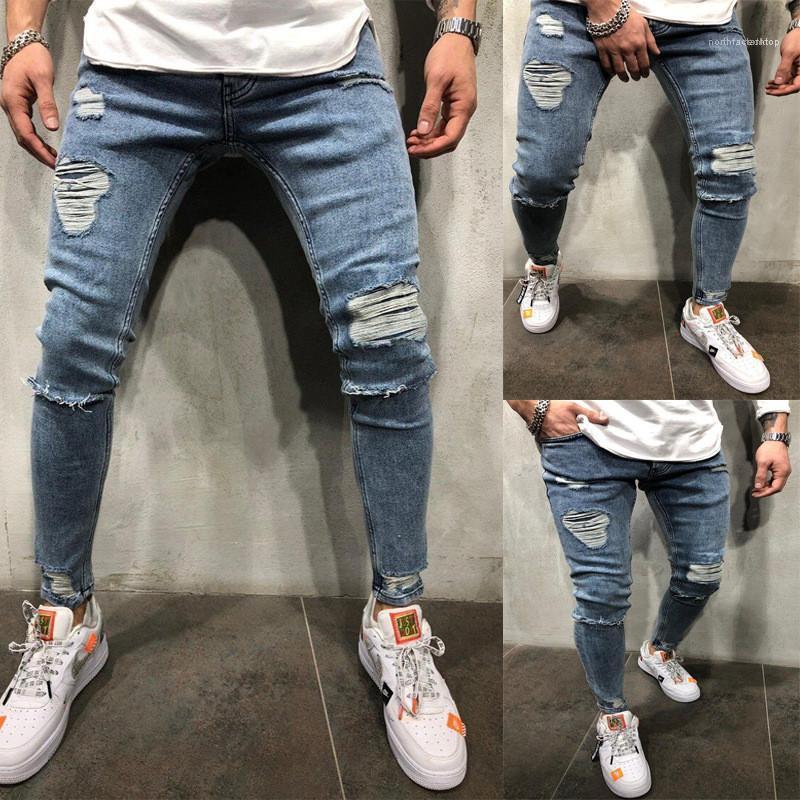 Mosca de la cremallera de la cintura para hombre Pantalones para hombre Hole Blue Jeans estiramiento de la manera lápiz largo diseñador de pantalones de mediana
