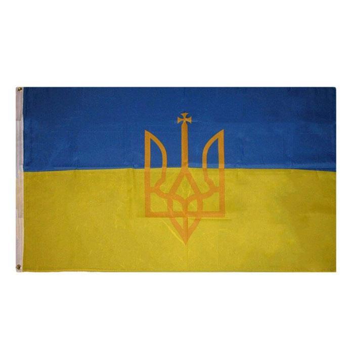 Ukraine Ukraine Drapeau Trident 150x90cm 3x5ft impression polyester club Équipe sportive intérieure avec 2 Brass Œillets, Livraison gratuite