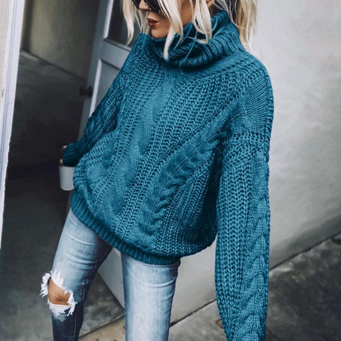 Cuello alto suéter de las mujeres del otoño del invierno de manga larga de punto flojo Puentes Nueva Moda Jerseys de punto Femme Streetwear T200910