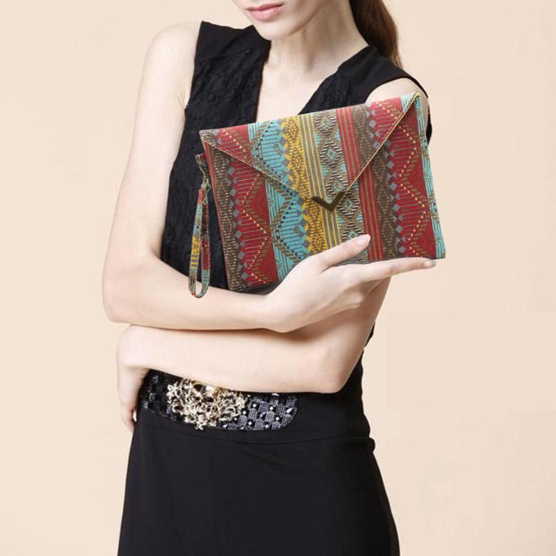Ethnic Style Ladies Canvas Purse Tote Handbag Mulheres Vintage Envelope Wristlet Clutch Bag National Vento Feminino Clutch