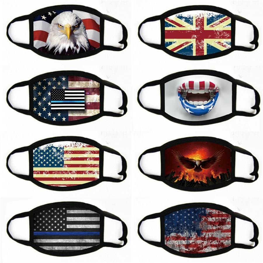 Impreso de algodón Mascarillas diseñador para la elección de la bandera americana de moda Imprimir Boca máscara máscaras deportes de ciclo a prueba de polvo # 385