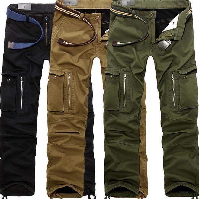 Herren Jogginghose Casual Man Hosen mit Taschen Herren Cargohose Winter Herbst Thick mittlere Taille Regular