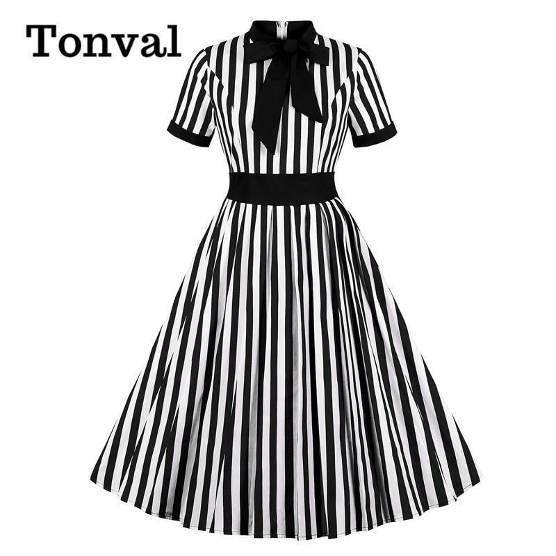 Tonval laço listrado da garganta do vintage 50s Robe Rockabilly vestido plissado cintura alta Mulheres elegantes vestidos Midi Preto