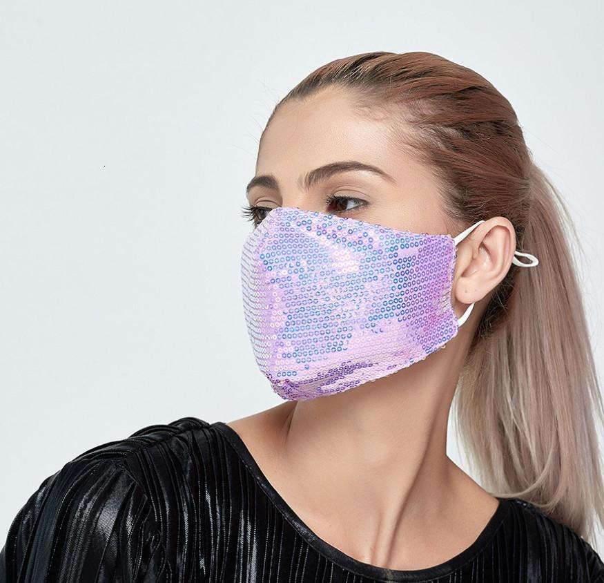 Yeniden Yıkanabilir Parlak Renkli Maske Sequins PM2.5 Yüz Ağız Kapak Pamuk Koruyucu Maskeler Elastik kulak askısı Anti-kirlilik önleyici toz