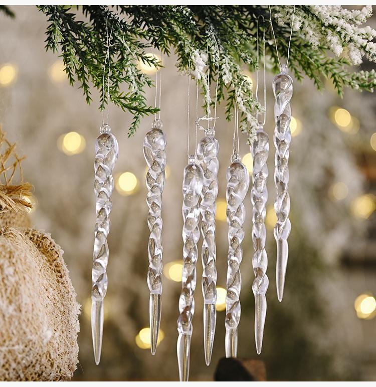 Noël Simulation de glace de Noël Décorations d'arbre suspendu Faux Icicle Props Décoration de Noël Nouvel An Décoration d'intérieur Fournitures DHE525