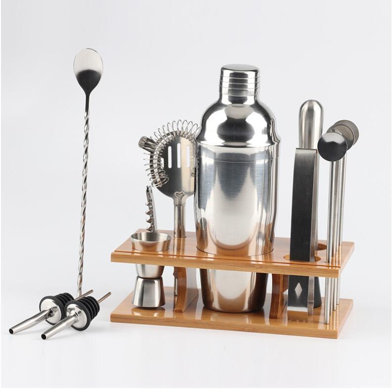Barmen Seti: 14-Piece Şık Bambu ve Stand Bar Alet Seti - Mükemmel Ev Barmenlik Kit ve Martini Kokteyl Shaker Seti 750ml EWF418