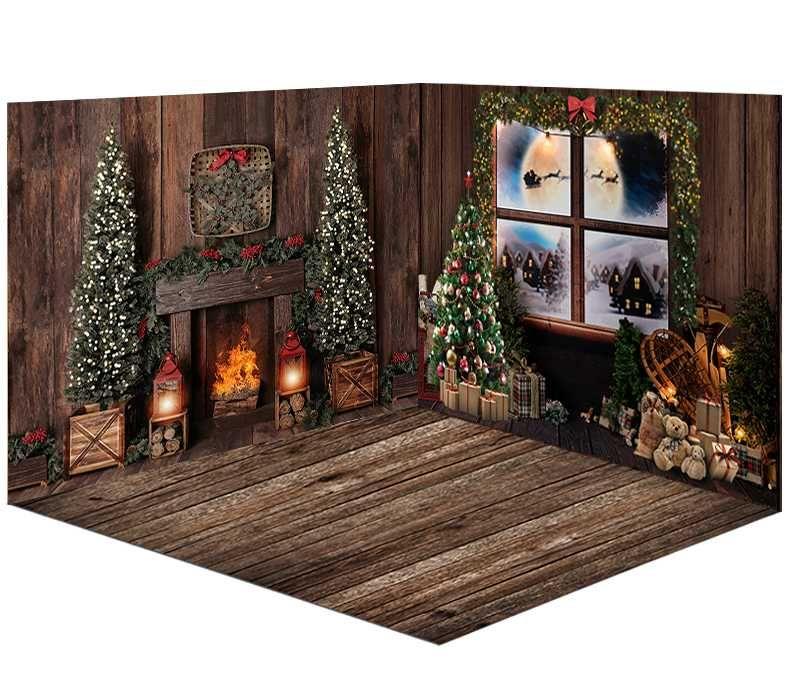 fenêtres Noël photographie backdrop neige hiver pour studio photo jouets d'arbre de Noël cadeaux fond photomaton