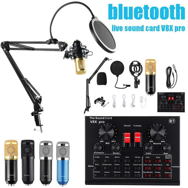 BM800 Pro Микрофон Mixer Audio DJ MIC Stand конденсаторный USB Wireless Karaoke КТВ Профессиональный Снимаемое Bluetooth SoundCard