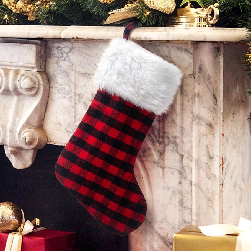 Noel çorap Noel Ağaçları Süsleme Noel Baba Ekose Noel Çorap Şeker Çorap Çanta Noel Süsleri Hediyeleri Çanta CYZ2776 20Pcs