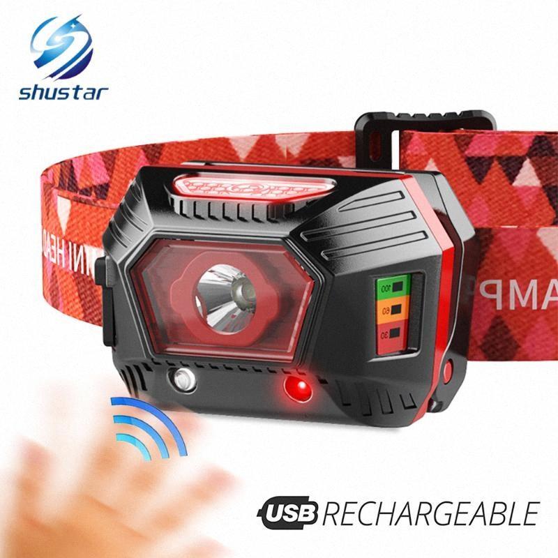 USB rechargeable LED avec capteur infrarouge Lampe frontale et batterie Affichage, course étanche nuit LED phare pêche lampe fumée Headlam W1GA #