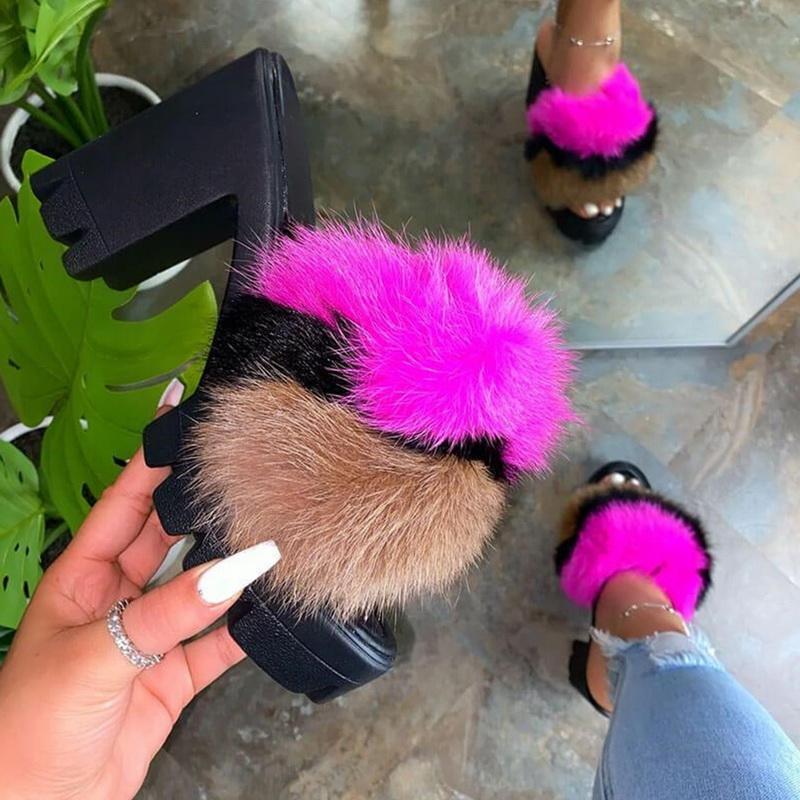 Sandalen Sommer-Absatz-Vintage-Plüsch-Hausschuhe Peep Toe Damen Platz Heel Wedges Sandalen Schuhe Schuhe Mujer 2020 New