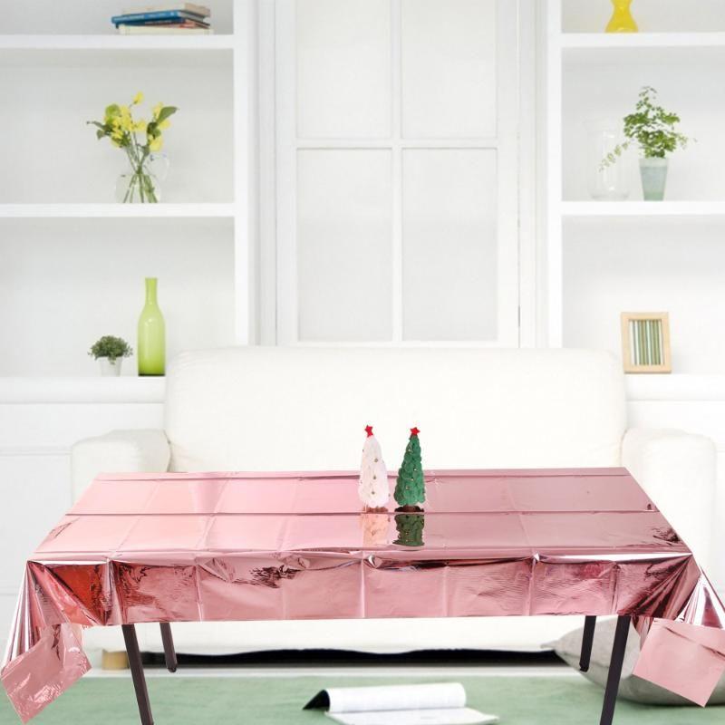 Tovaglia monouso Baia Tablecloth Glossy Tovaglia Glossy Rose Home Alluminio Partito Gold per la decorazione impermeabile Tavolo da pranzo Pellicola SDTMU