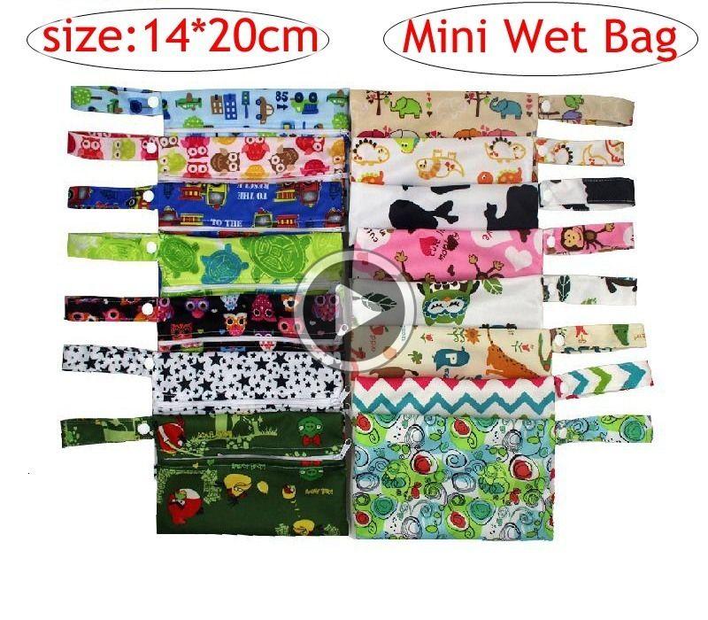 INS Owl Infant Mini Wet Bag Printed PUL Mojada Diaper Wet Bag Cloth Handle 14*20CM Zipper Button Saco Molhado Waterproof