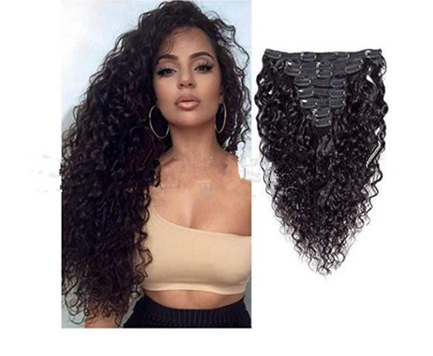 Afro Kinky Curly Clip In Synthetic Hair Extensions 120g 8pcs Raw Indian Remy Body Wave Clip On Weave Thick Natural Hair Clip Ins
