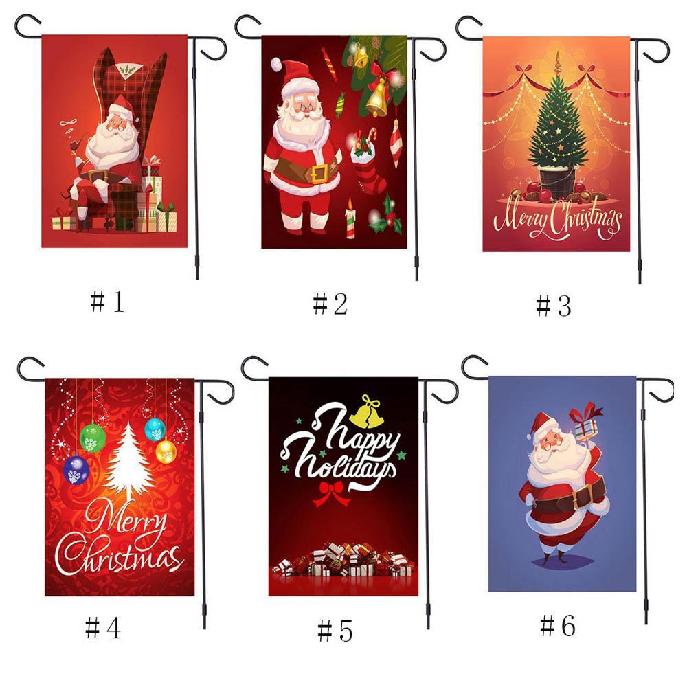 크리스마스 장식품 배너 깃발 듀클 사이드 인쇄 배너 산타 클로스 눈사람 매달려 플래그 야외 새로운 메리 크리스마스 장식 집에 대 한