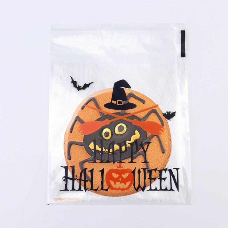 Pochette 200pcs Sac-adhésif autocollant de la citrouille Halloween Sacs en plastique XTPLW