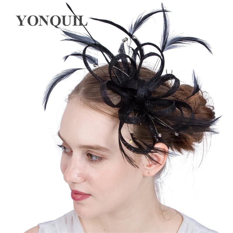 21Colors kobiety Kościół Ozdoby do włosów Imitacja Bow Hairband Sinamay DIY Bow Faszynator Wedding Psrty Hat Feather Hair Akcesoria SYF166