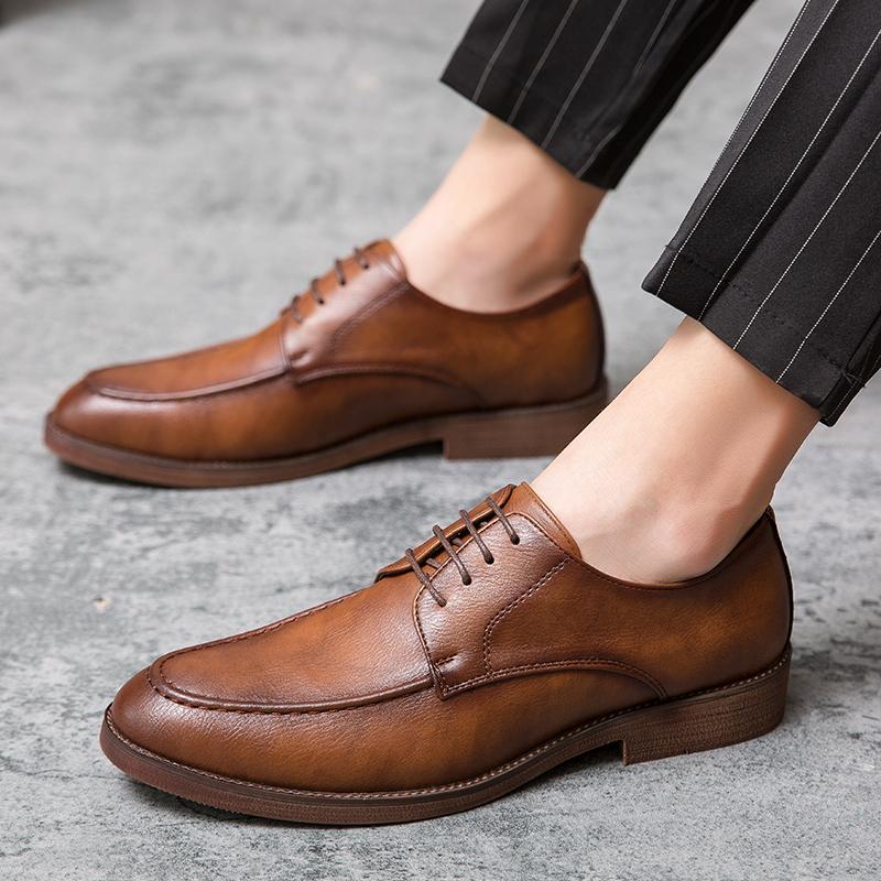 Sapatos de couro Primavera Outono Rerby dos homens ao ar livre Oxfords Fashion Dress Casual Sapatos Homem de Negócios Lace up oxfords sapatos