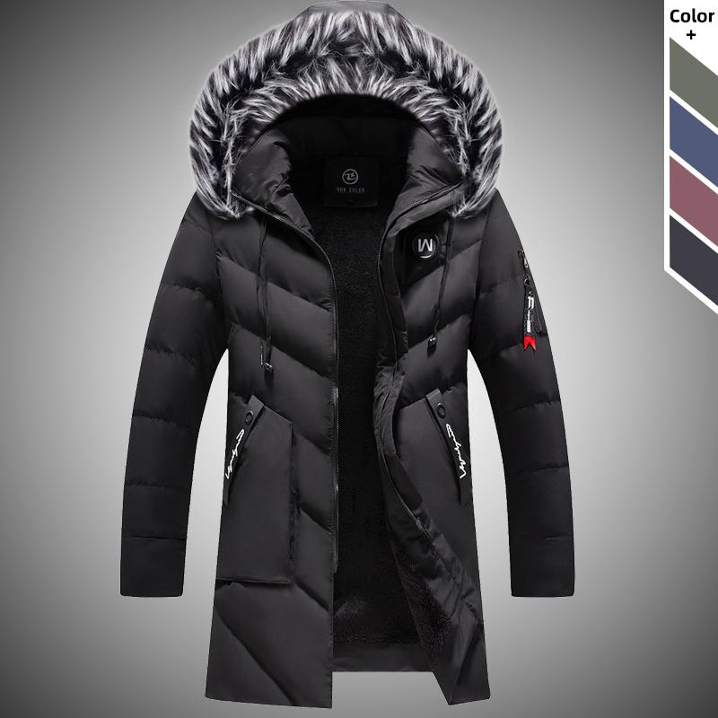 Kalın Erkekler Kış Uzun Parkas Coat 2020 Erkekler Açık Sıcak WINDBREAKER ceketler Erkek Casual Kapşonlu Kürk Yaka Uzun Dış Giyim Coats