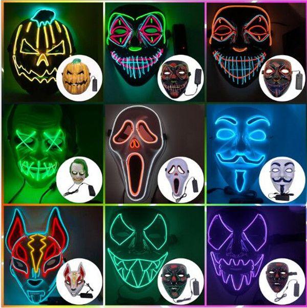 Tasarımcı yüz maskesi Cadılar Bayramı Süslemeleri Cadılar Bayramı Glow yetişkin ev dekorasyonu için PVC malzeme LED Cadılar Kadın Erkek Maske kostümleri maskesi