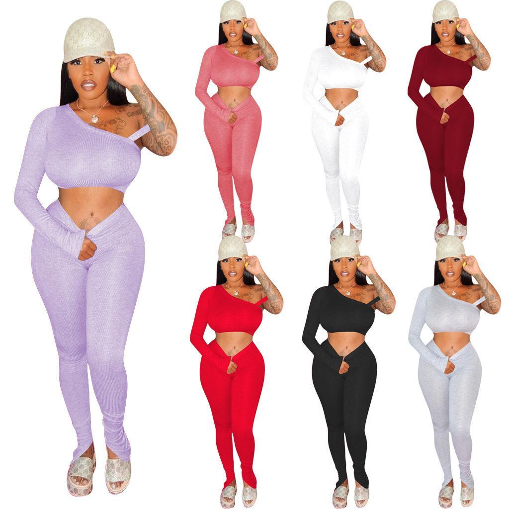 2020 Vêtements Styliste de femmes haut élastique fil Pit manches longues Pantalons Ensemble deux pièces Boîte de nuit