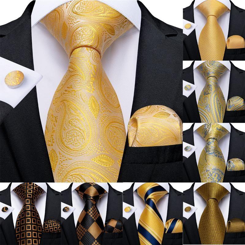 Gold Solid Floral Plaid Paisley Ties For Men Handkerchief Cufflinks Silk Tie Set DiBanGu Designer Men'S Wedding Ties Mens Gift