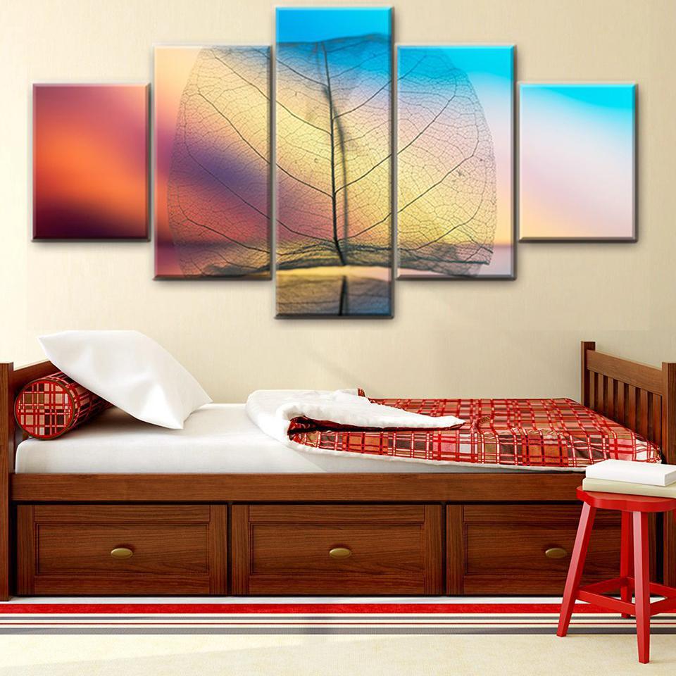 Pintura del cartel del marco de la sala pared del arte Imagen 5 panel transparente de la hoja blanca textura de la hoja moderna decoración del hogar HD de impresión