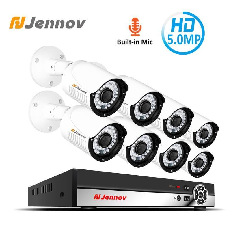 Jennov 5MP 8CH H.264+ HD Security System POE NVR Video Surveillance Audio Record IP Camera P2P Set CCTV Kit Outdoor Waterproof