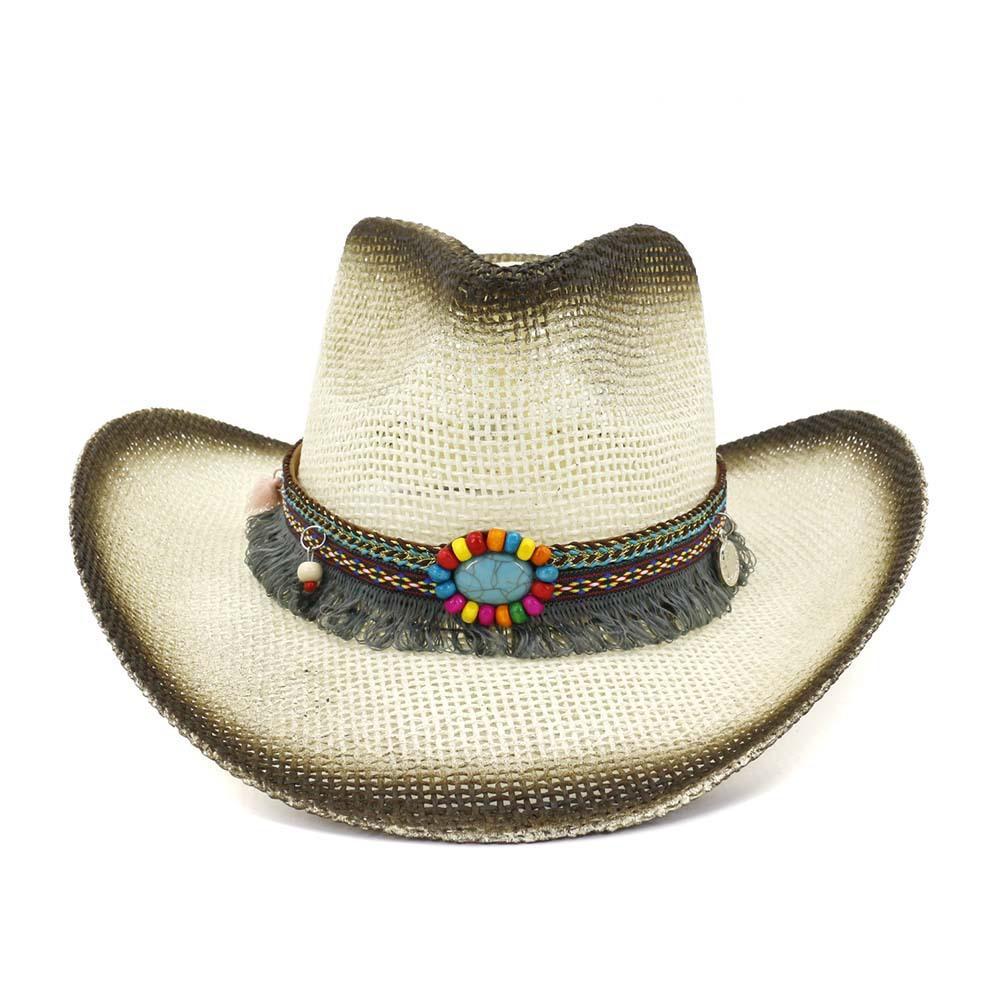 Papier Plage Outdoor Summer Straw Hat Noir Spray Paint Unisexe Panama style cow-boy Chapeau Grand Brim Sunhat