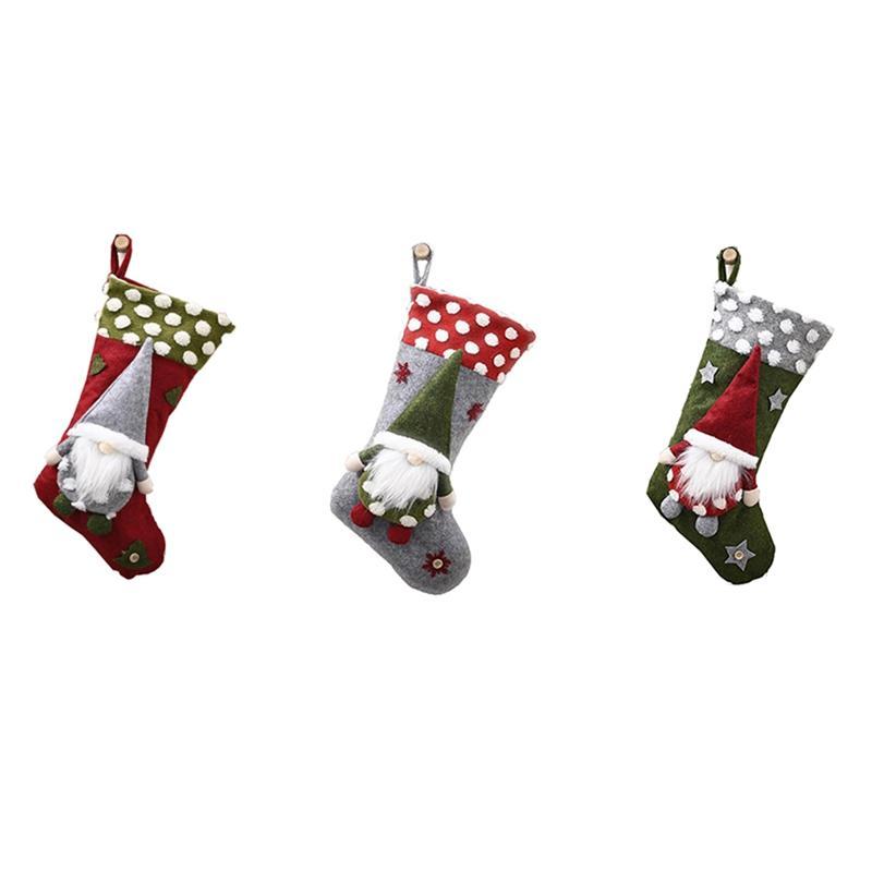 3pc personalizzata Natale calze di Natale decorazioni camino sospeso ornamenti Family Holiday Tatuaggi